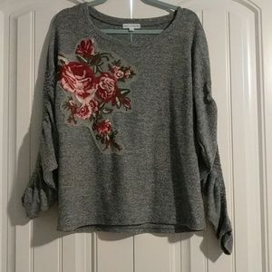 Rose Fall Grey Ruched Casual Cozy Sweater